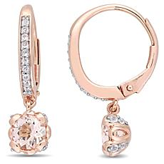 10K Rose Gold Morganite and White Topaz Leverback Floral Drop Earrings