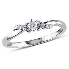 10K White Gold 0.1ctw White Diamond Criss-Cross Ring