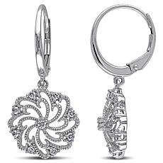 "10K White Gold 0.23ctw Diamond ""Pinwheel"" Drop Earrings"