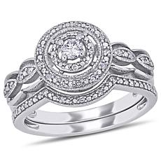 10K White Gold 0.25ctw Round Diamond Bridal Ring Set