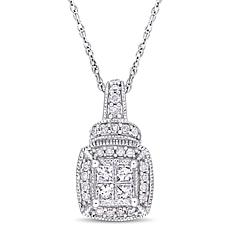 "10K White Gold 0.34ct Diamond Cluster Pendant with 17"" Rope Chain"