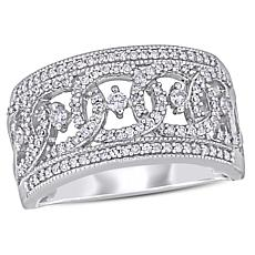 10K White Gold 0.50ct Diamond Filigree Anniversary Ring