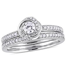 10K White Gold 0.50ctw Diamond Bridal Set Ring