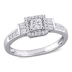 10K White Gold 0.75ctw Diamond Princess and Round Halo Engagement Ring