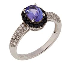 10K White Gold 1.27ctw Black Spinel, Zircon and Tanzanite Ring
