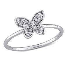 10K White Gold .12ctw Diamond Butterfly Ring