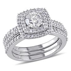 10K White Gold 1.50ctw Diamond Bridal Ring Set