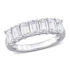 10K White Gold 1.75ctw Created Moissanite Semi-Eternity Ring