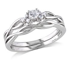 10K White Gold 2-piece .16ctw Diamond Bridal Set