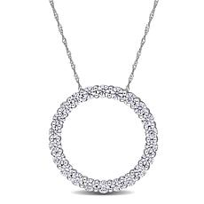 "10K White Gold 2.20ctw Moissanite Circle Pendant with 17"" Chain"