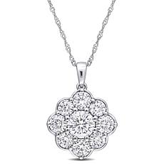 "10K White Gold 2.50ctw Moissanite Floral Pendant with 17"" Chain"