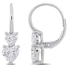 10K White Gold 2.80ctw Moissanite Heart Leverback Earrings