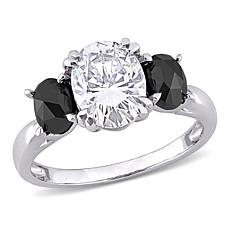 10K White Gold 2ctw Moissanite and 1ctw Black Diamond 3-Stone Ring