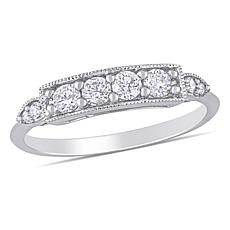 10K White Gold .31ctw Diamond Bar Ring