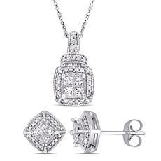 10K White Gold .58ctw Diamond Princess and Round Earrings and Pendant