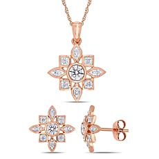 10K White Gold .66ctw Diamond Artisanal-Style Earrings and Pendant