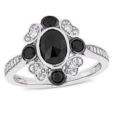 10K White Gold Black and White Oval Diamond Vintage-Inspired Ring