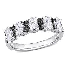 10K White Gold Created Moissanite and Black Diamond Semi-Eternity Ring