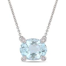 10K White Gold Diamond-Accented Oval Aquamarine Necklace