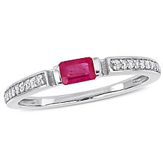 10K White Gold Diamond-Accented Ruby Semi-Eternity Ring
