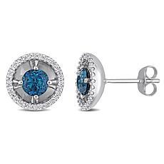 10K White Gold London Blue Topaz and Diamond Stud Earrings