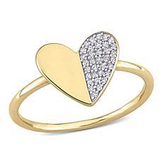 10K Yellow Gold 0.10ctw Diamond Heart Ring