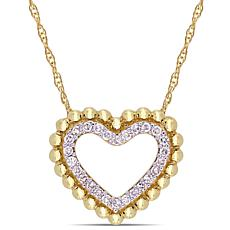 10K Yellow Gold 0.12ctw Diamond Heart Halo Drop Necklace