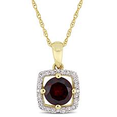 10K Yellow Gold 1.10ctw Garnet and Diamond Drop Pendant