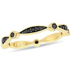 10K Yellow Gold Black Diamond Eternity Band Ring
