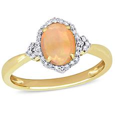 10K Yellow Gold Diamond and Ethiopian Opal Halo Ring