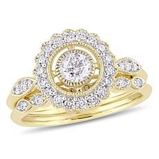 10K Yellow Gold Diamond Halo Bridal Ring Set