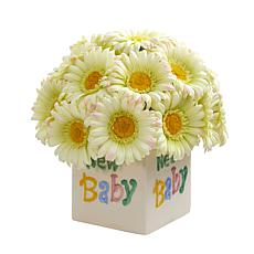 11 in. Gerber Daisy Artificial Arrangement in New Baby Vase