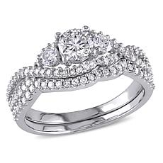 1.12ctw Engagement Ring and Wedding Band 14K Gold Set
