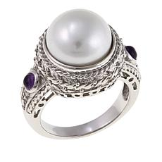 11.5mm Cultured Freshwater Pearl and Amethyst Rope Ring