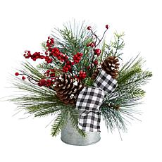 """12"""" Frosted Pinecones and Berries in Vase"""
