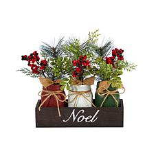 """12"""" Holiday Winter Pine and Berries - 3 Piece"""