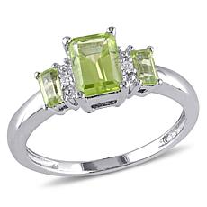 1.25ctw Peridot and Diamond 10K White Gold Emerald-Cut