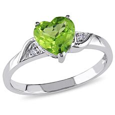 1.36ctw Peridot and Diamond 10K White Gold Heart Ring