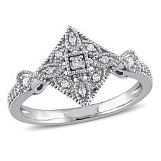 .13ctw Diamond 10K White Gold Diamond-Shaped Vintage-Inspired Ring