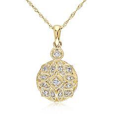 ".13ctw Diamond 14K Round Vintage-Inspired Pendant with 17"" Chain"