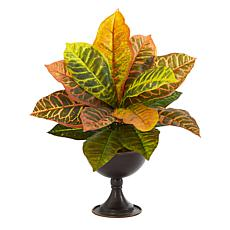 14 in. Garden Croton Artificial Plant in Metal Chalice Real Touch