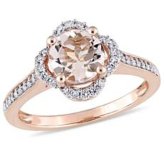1.42ctw Morganite and Diamond 14K Rose Gold Pavé Ring