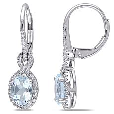 1.44ctw Oval Aquamarine and Diamond 10K Earrings