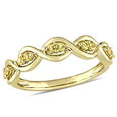 14K 0.26ctw Yellow Sapphire Stackable Infinity Ring