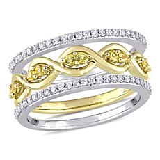 14K 2-Tone Gold 0.53ctw Diamond and Yellow Sapphire 3-piece Ring Set