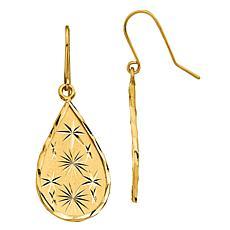 14K Diamond-Cut Teardrop Dangle Earrings