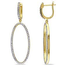 14K Gold 0.10ctw Diamond Dangle Hoop Earrings