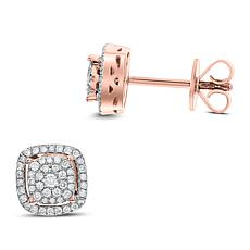 14K Gold 0.25ctw Diamond Square Stud Earrings