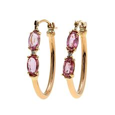14K Gold 0.97ctw Zircon and Padparadscha Sapphire Hoops
