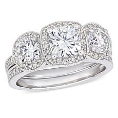 14K Gold 2.0ctw Moissanite and 0.41ctw Diamond Cushion Center Ring Set